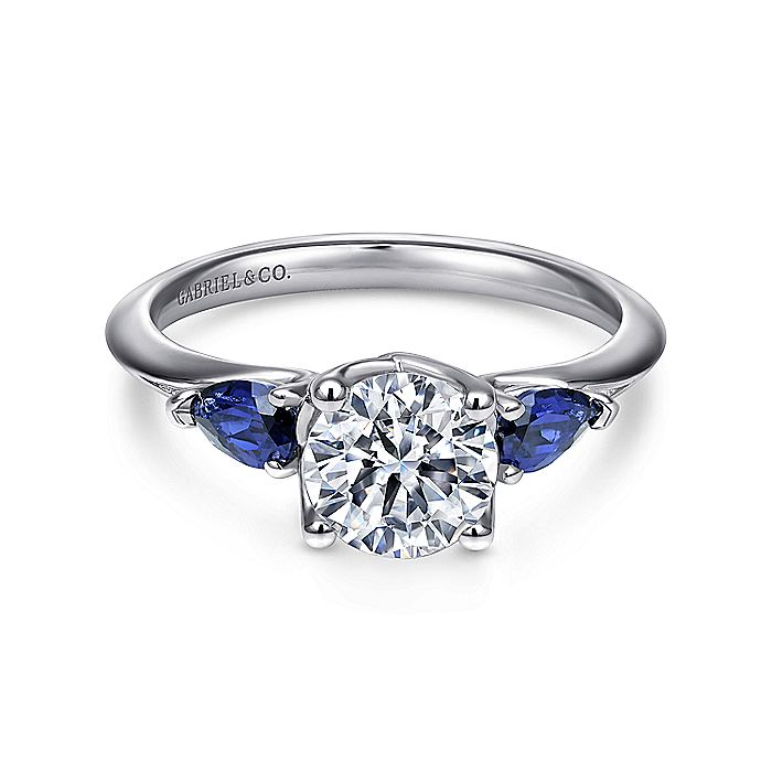 18K White Gold Round Sapphire and Diamond Engagement Ring