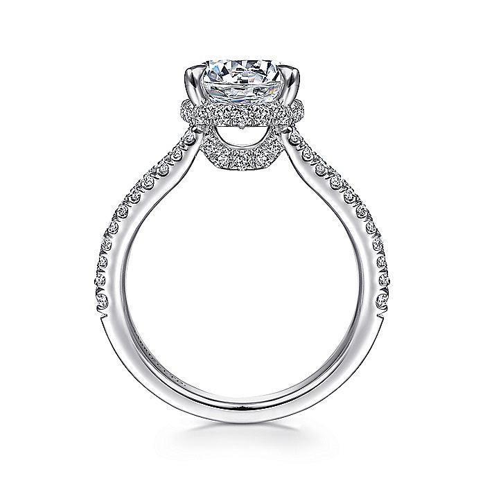 18K White Gold Round Split Shank Diamond Engagement Ring
