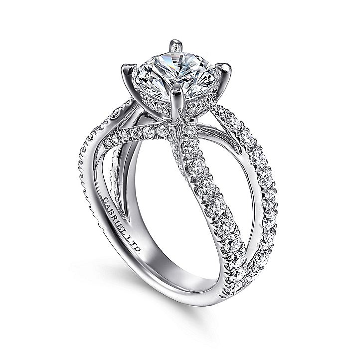 18K White Gold Round Split Shank Diamond Engagement Ring