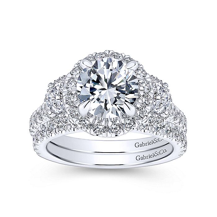 18K White Gold Round Three Stone Halo Diamond Engagement Ring