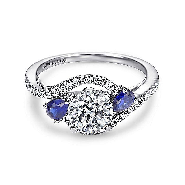 18K White Gold Round Three Stone Sapphire and Diamond Engagement Ring