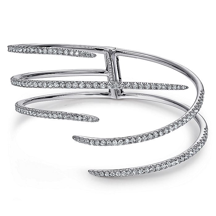 18K White Gold Split Asymmetrical Diamond Bangle