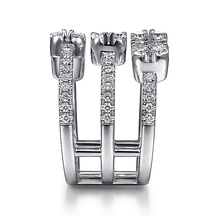 18K White Gold Three Row Baguette and Round Diamond Station Ring