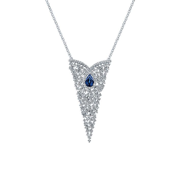 18K White Gold Triangular Diamond and Sapphire Cluster Pendant Necklace