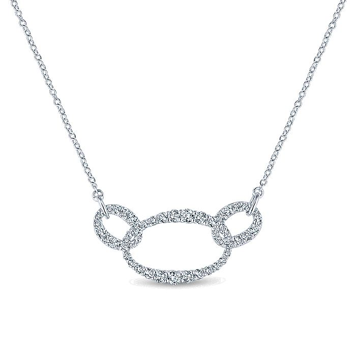 18K White Gold Triple Oval Link Diamond Pavé Necklace