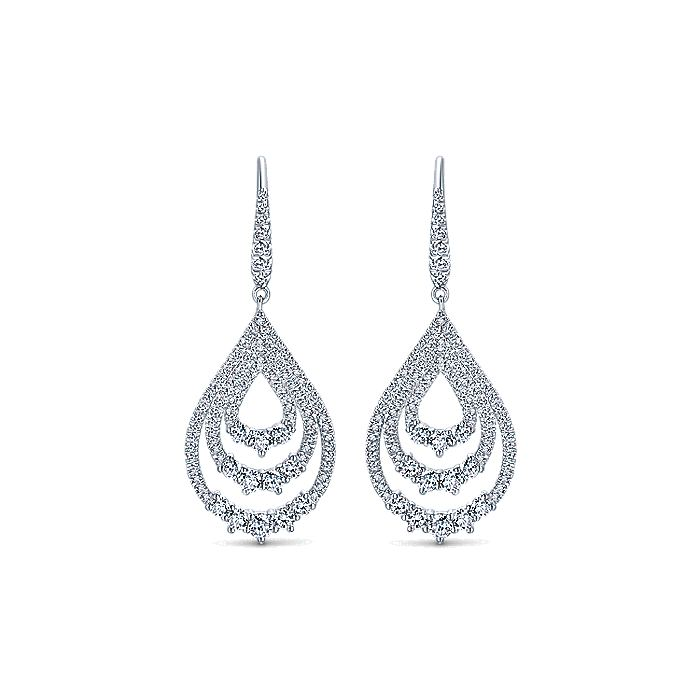 18K White Gold Triple Teardrop Diamond Drop Earrings