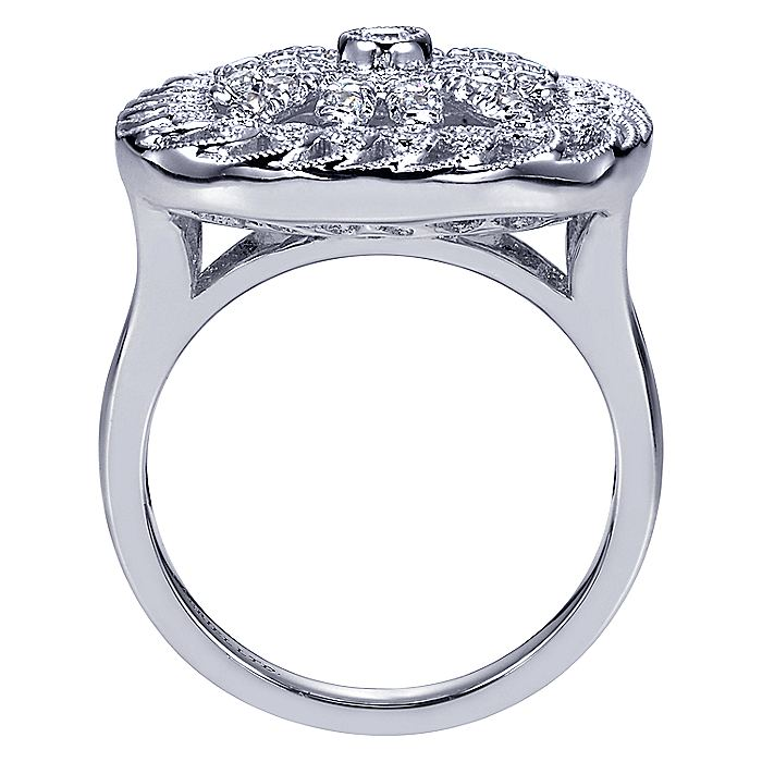 18K White Gold Vintage Inspired Floral Diamond Cushion Shape Ring
