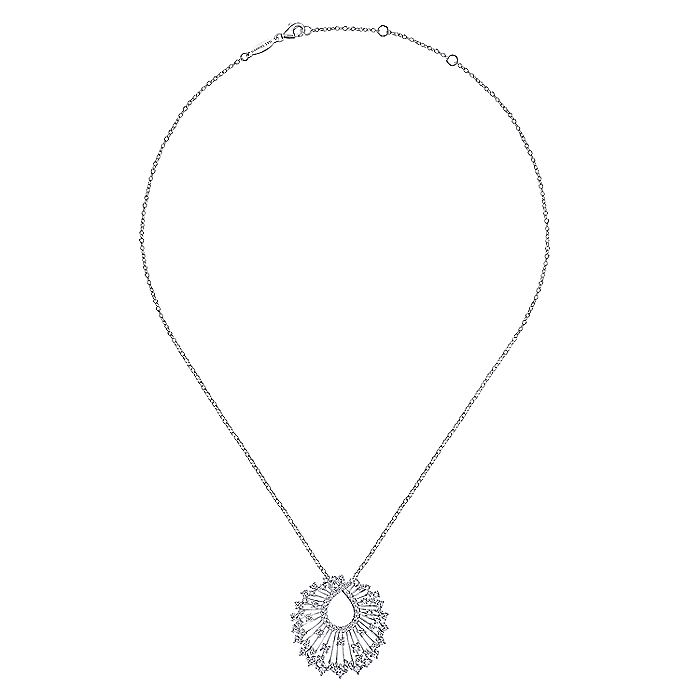 18K White Gold Waterfall Swirl Diamond Pendant Necklace