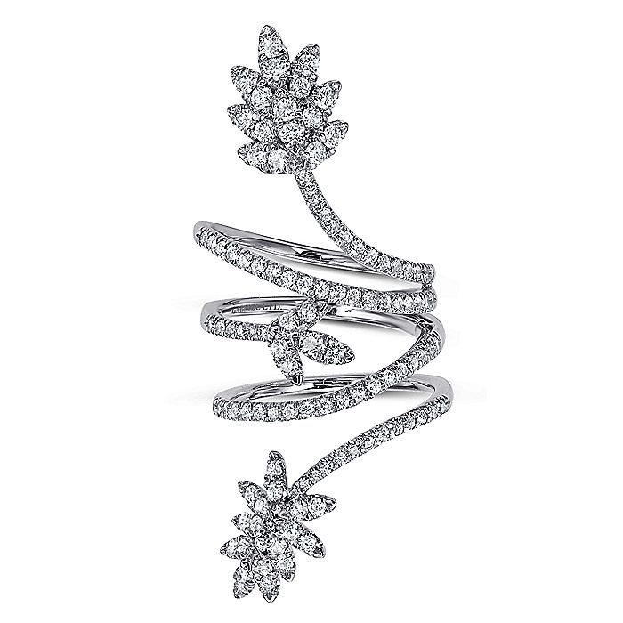 18K White Gold Wide Diamond Leaf Statement Wrap Ring