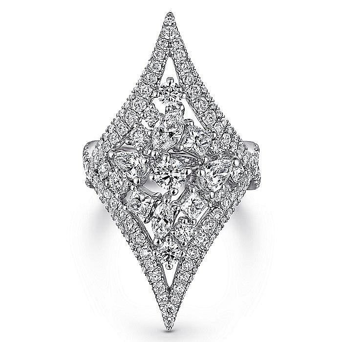 18K White Gold Wide Elongated Pavé Diamond Ring