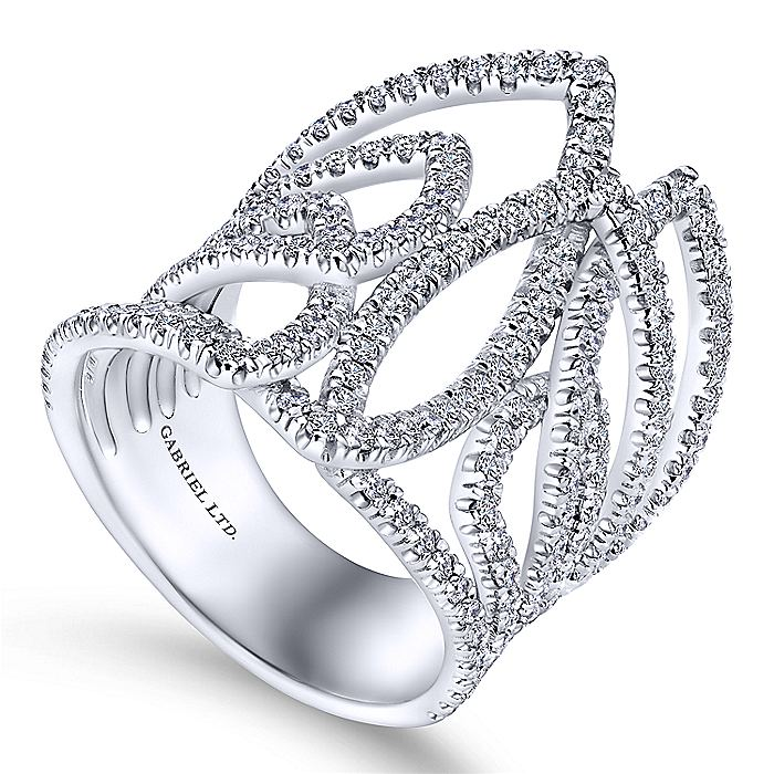 18K White Gold Wide Intersecting Diamond Statement Ring