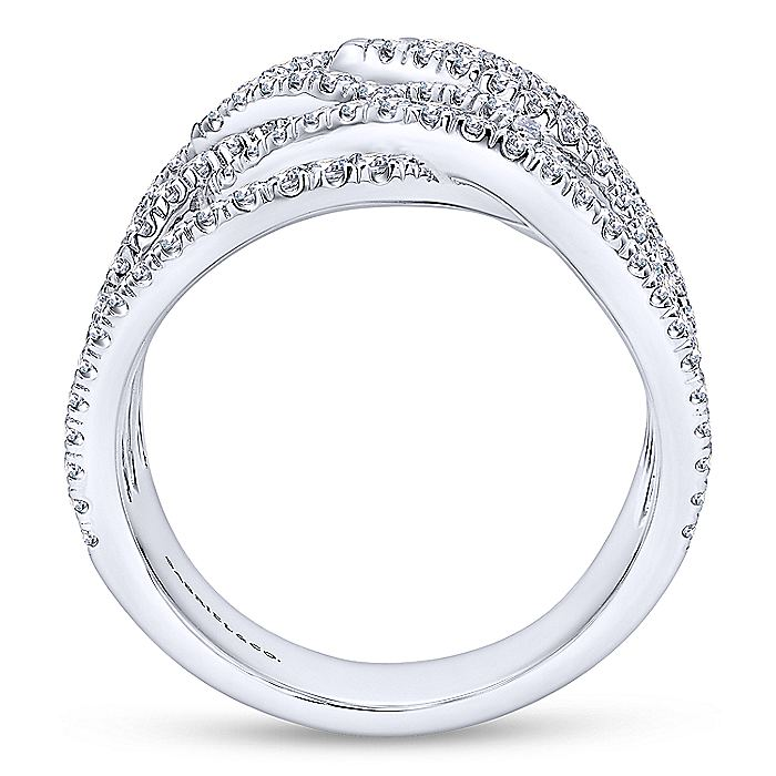 18K White Gold Wide Multi Row Diamond Ring