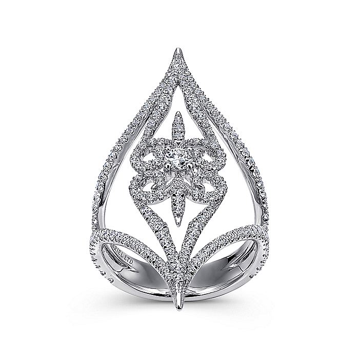 18K White Gold Wide Open Floral Diamond Statement Ring