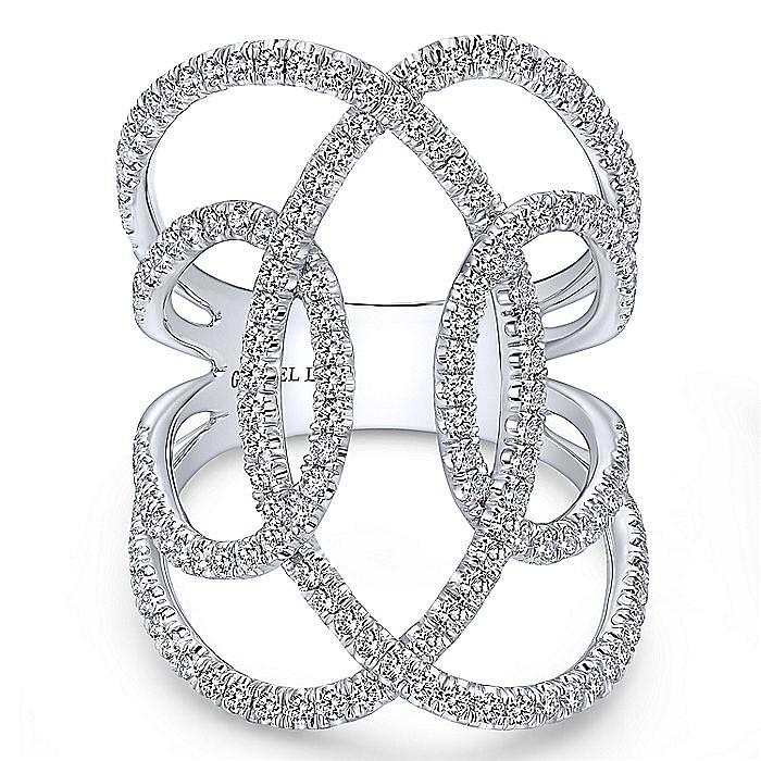 18K White Gold Wide Open Interlocking Diamond Ring