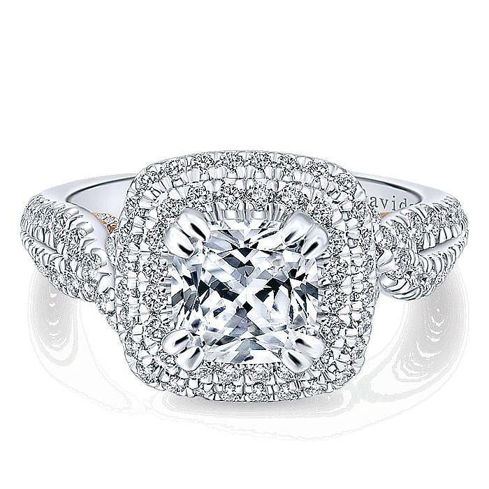 18K White-Rose Gold Cushion Double Halo Diamond Engagement Ring