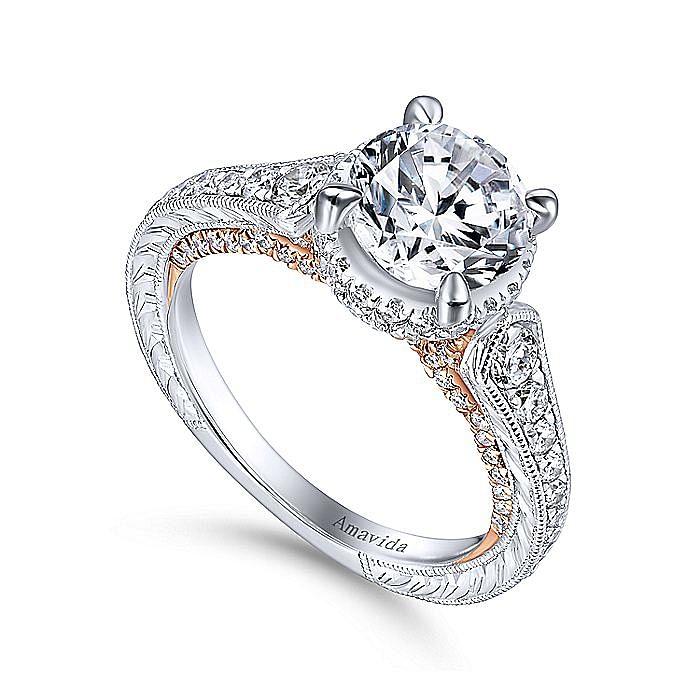 18K White-Rose Gold Hidden Halo Round Diamond Engagement Ring
