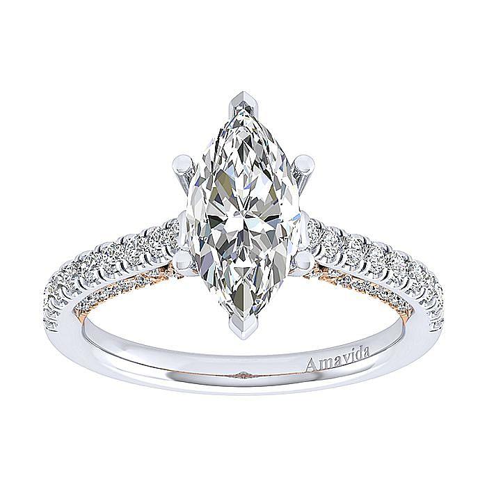 18K White-Rose Gold Marquise Shape Diamond Engagement Ring