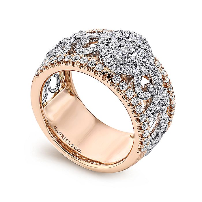 18K White/Rose Gold Openwork Wide Band Diamond Ring
