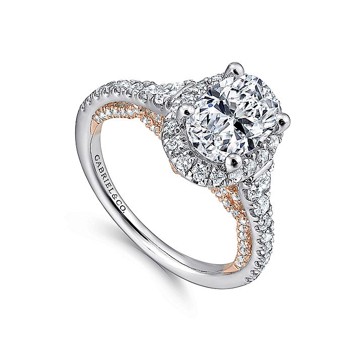 18K White-Rose Gold Oval Halo Diamond Engagement Ring