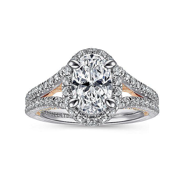 18K White-Rose Gold Oval Halo Diamond Engagement Ring