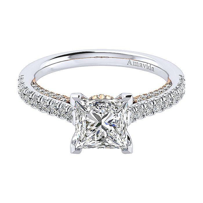 18K White-Rose Gold Princess Cut Diamond Engagement Ring