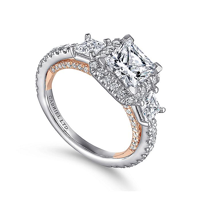 18K White-Rose Gold Princess Halo Three Stone Diamond Engagement Ring