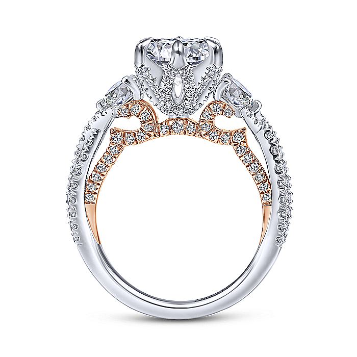 18K White-Rose Gold Round Diamond Engagement Ring
