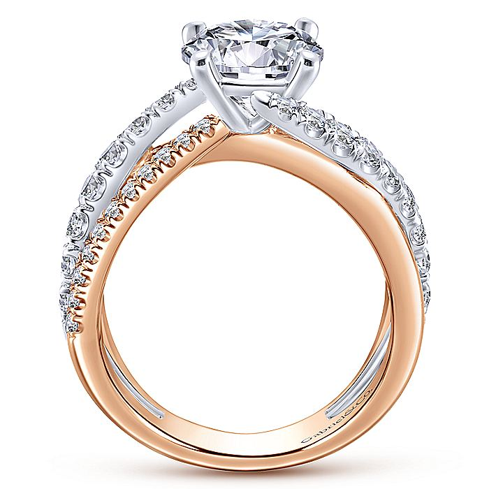 18K White-Rose Gold Round Diamond Free Form Engagement Ring