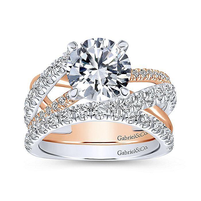 18K White-Rose Gold Round Diamond Free Form Engagement Ring