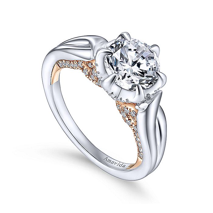 18K White-Rose Gold Round Diamond Twisted Engagement Ring
