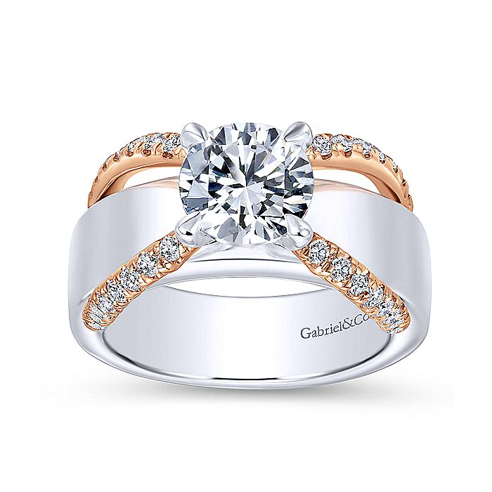 18K White-Rose Gold Round Diamond Wide Band Engagement Ring