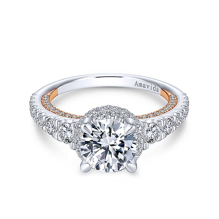 18K White-Rose Gold Round Double Halo Diamond Engagement Ring