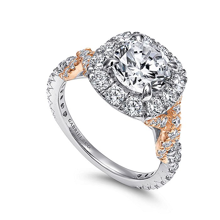 18K White-Rose Gold Round Halo Diamond Engagement Ring