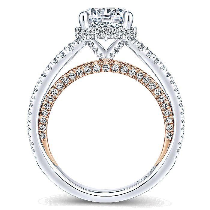18K White-Rose Gold Split Shank Round Diamond Engagement Ring