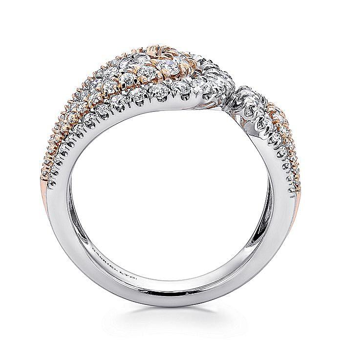 18K White/Rose Gold Split Shank Wide Band Diamond Ring