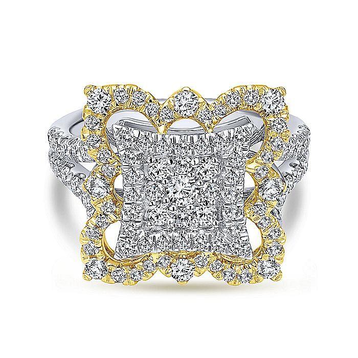 18K White-Yellow Gold Intricate Square Diamond Pavé Statement Ring