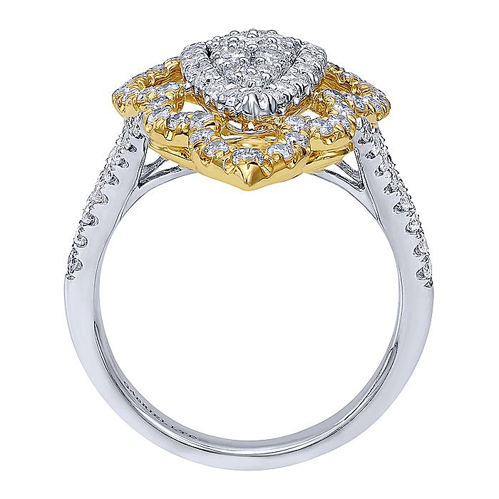 18K White-Yellow Gold Marquise Shape Cluster Diamond Statement Ring