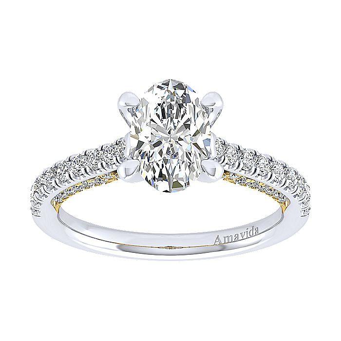18K White-Yellow Gold Oval Diamond Engagement Ring
