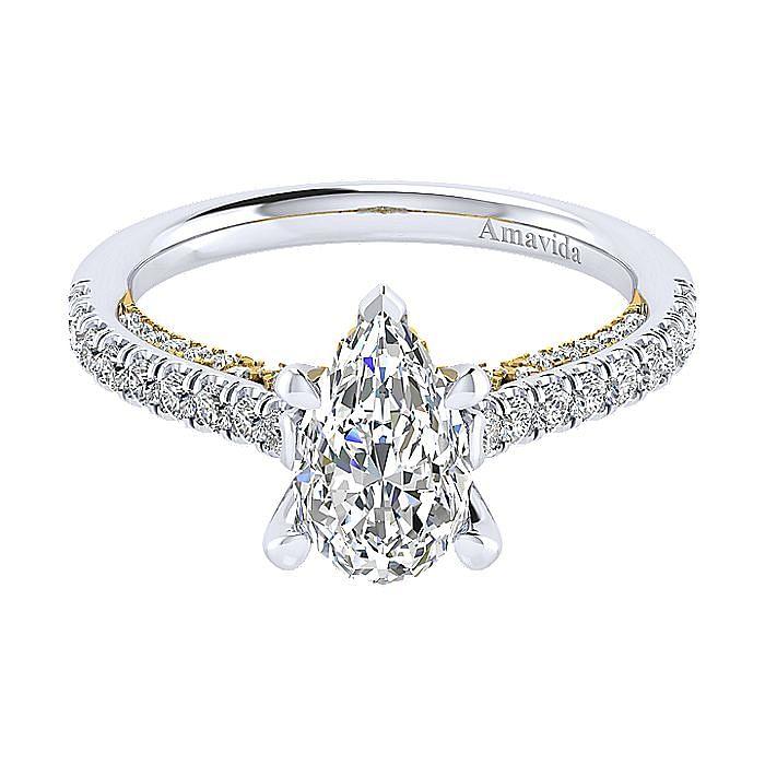 18K White-Yellow Gold Pear Shape Diamond Engagement Ring