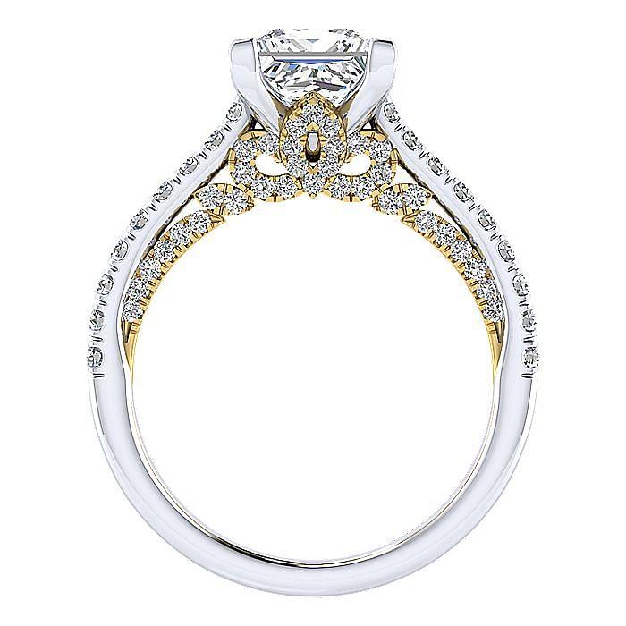 18K White-Yellow Gold Princess Cut Diamond Engagement Ring