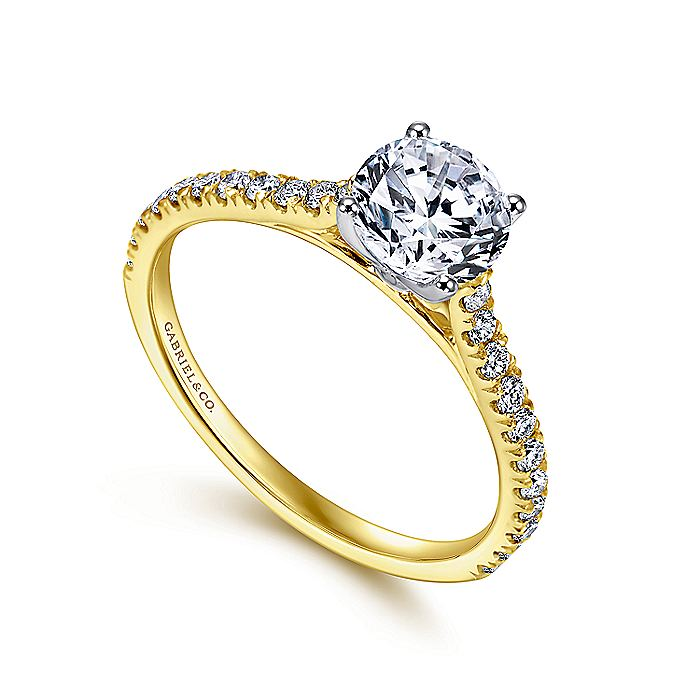 18K White-Yellow Gold Round Diamond Engagement Ring
