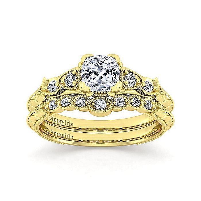 18K Yellow Gold Cushion Cut Diamond Engagement Ring
