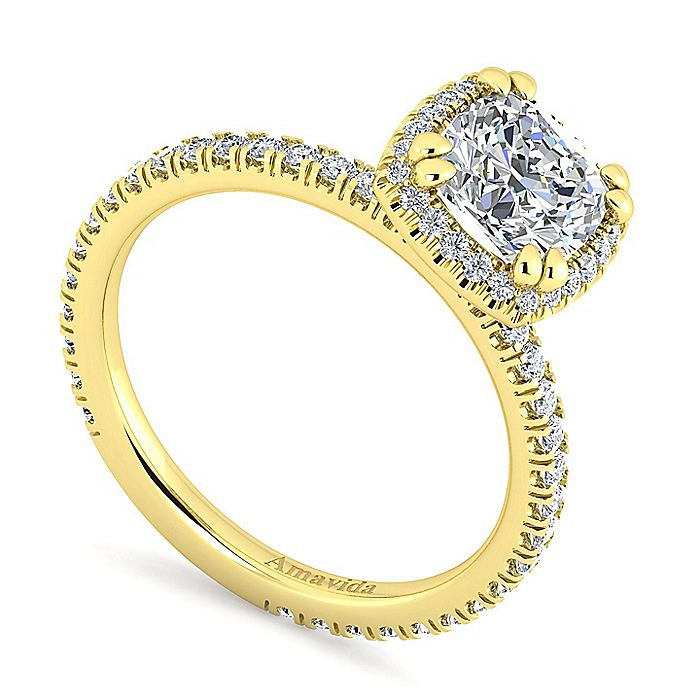 18K Yellow Gold Cushion Halo Diamond Engagement Ring
