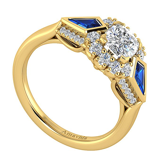 18K Yellow Gold Cushion Halo Sapphire and Diamond Engagement Ring