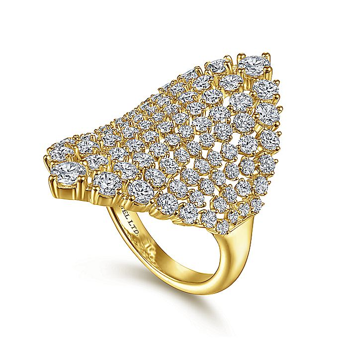 18K Yellow Gold Diamond Fashion Ladies Ring