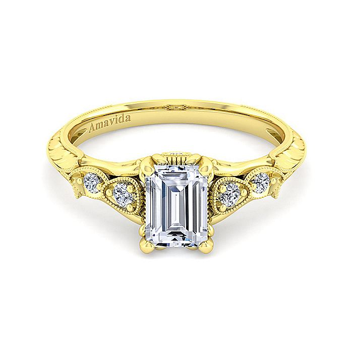 18K Yellow Gold Emerald Cut Diamond Engagement Ring