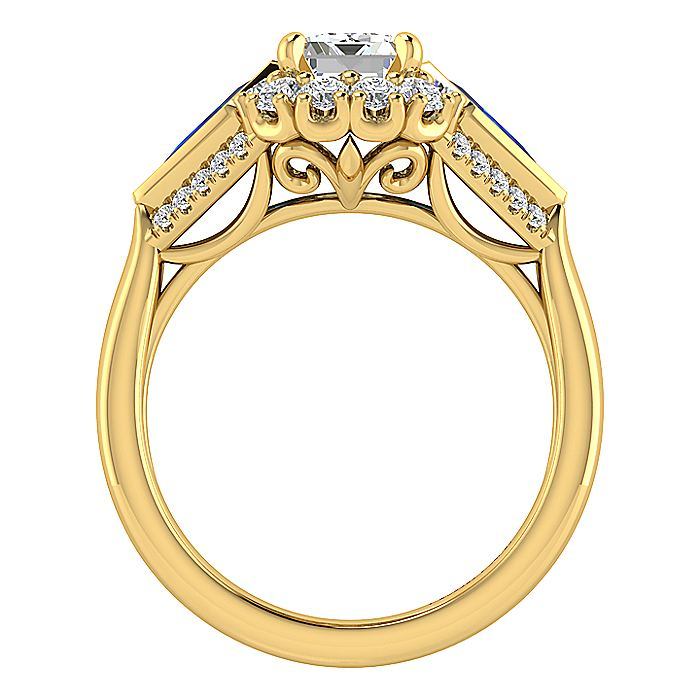 18K Yellow Gold Halo Emerald Cut Sapphire and Diamond Engagement Ring