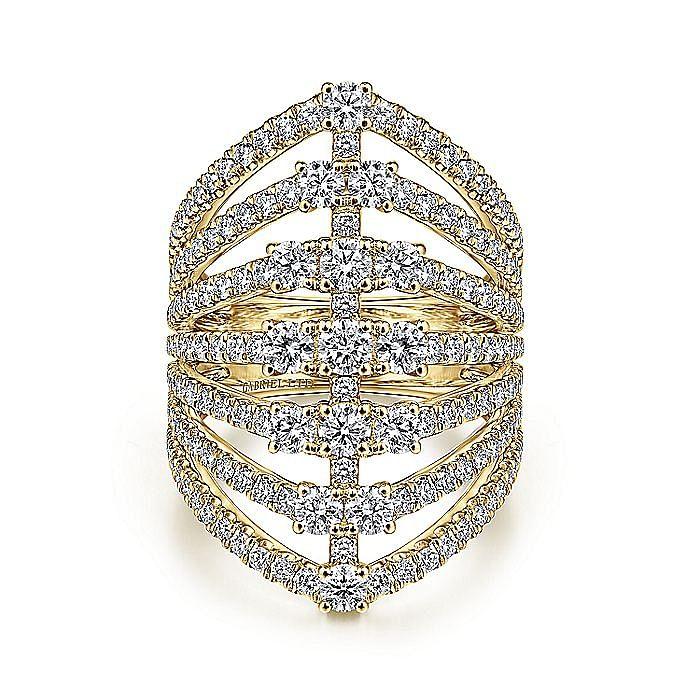 18K Yellow Gold Layered Diamond Fan Wide Band Ring