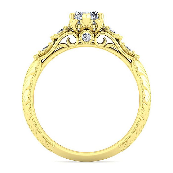 18K Yellow Gold Marquise Shape Diamond Engagement Ring