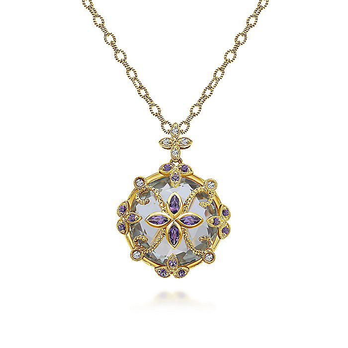 18K Yellow Gold Round Amethyst and Diamond Pendant Necklace